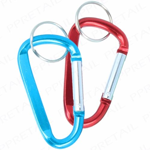 2 x SPRING LOADED CARABINER 8x80mm D-Ring Snap Hook Backpack//Rucksack Clasp Clip
