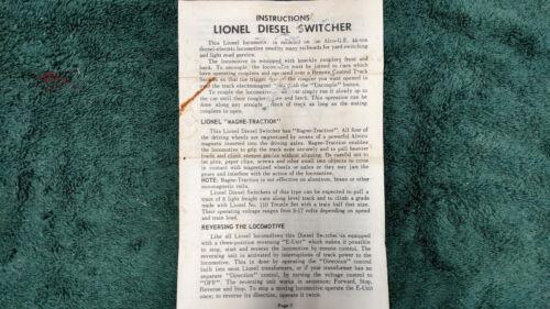 LIONEL # 616 DIESEL SWITCHER INSTRUCTIONS PHOTOCOPY