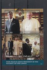 Palau 2014 MNH Pope Francis 2v S/S II Popes Denis Sassou Nguesso Congo President