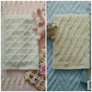 KNITTING-PATTERN-Baby-Textured-Cot-amp-Pram-Blankets-DK-King-Cole-3506