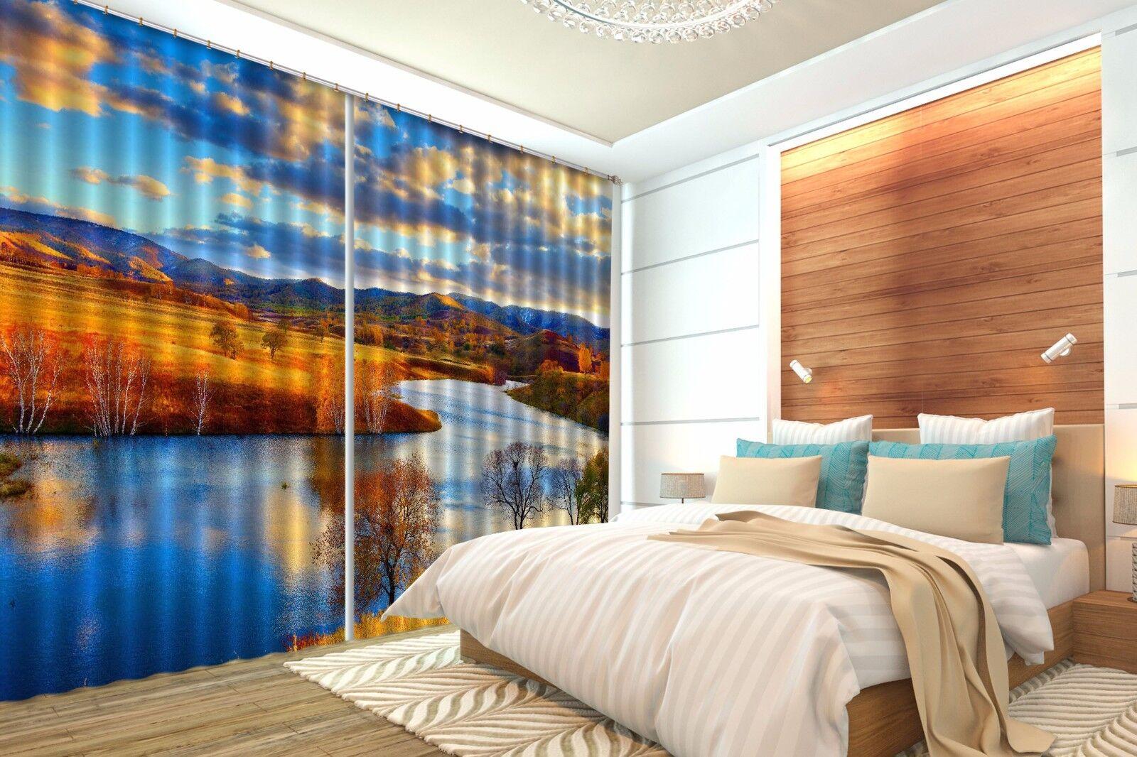 Vista de Río 3D 9 Cortinas de impresión de cortina de foto Blockout Cortinas Ventana De Tela nos
