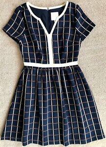 ModCloth-Azul-Windowpane-Fit-039-n-039-FLARE-Bolsillos-Vestido-Nuevo-sin-etiquetas-125-M