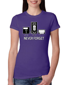 Never-Forget-Funny-90-039-s-Nostalgia-Womens-Junior-Fit-Tee-Novelty-Humor-T-Shirt