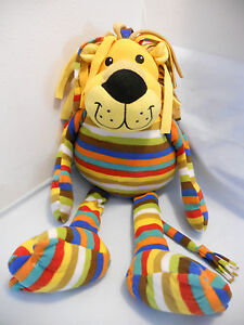 "Melissa & Doug 28"" Soft Fleece Feel Multi Color Striped Lion Dangling Legs 3+"