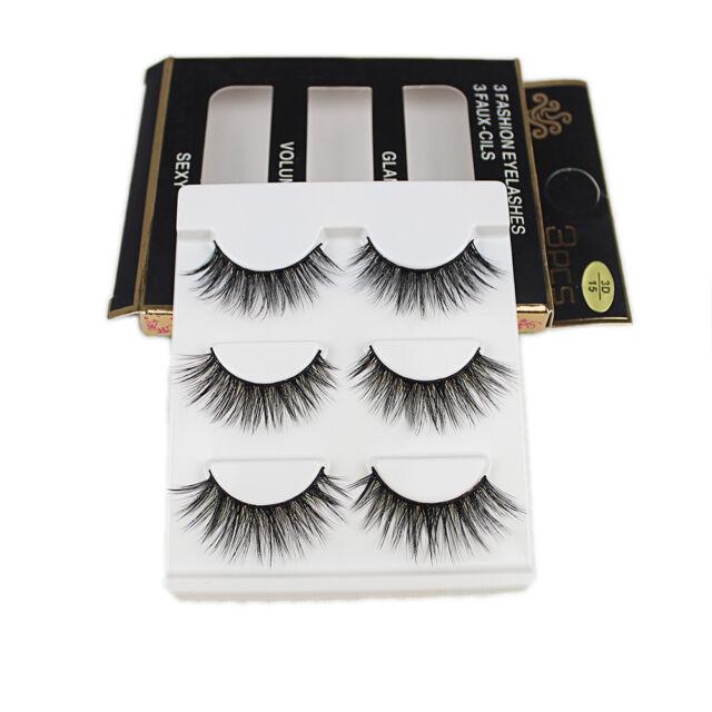 b5475f5d1ce 3Pairs Handmade Eye Lashes Real Mink 3D Natural Cross False Eyelashes MINK