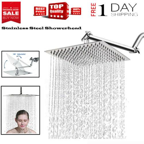 12in Square Bathroom Chrome Rain Shower Head Ceiling Mount Shower Top Sprayer