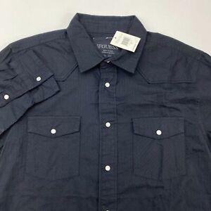 NWT-Guess-Snap-Button-Up-Shirt-Men-039-s-XL-Long-Sleeve-Black-100-Cotton-Casual