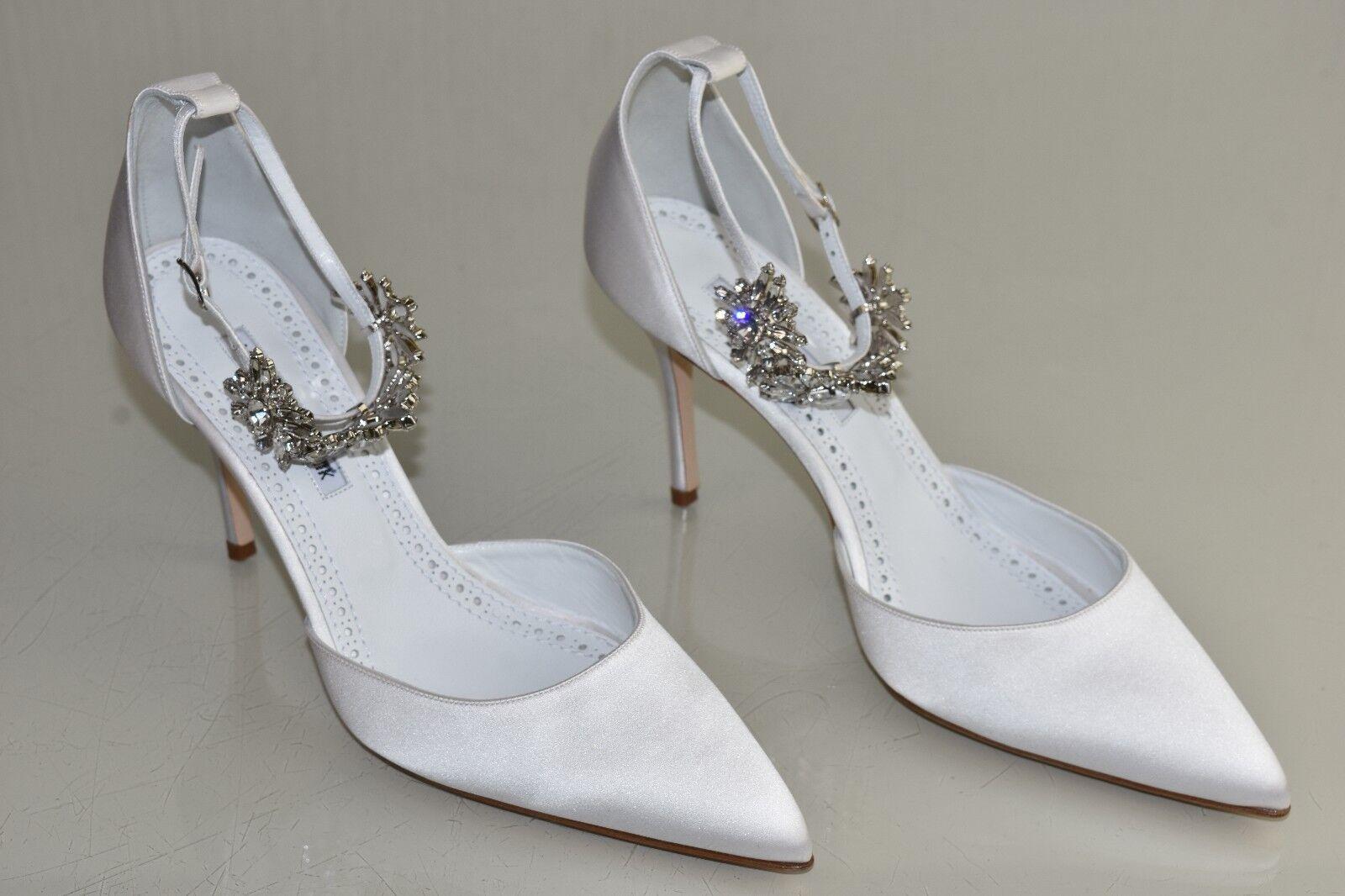 1045 NEW Manolo Blahnik Sicariata Sicariata Sicariata White  Satin Pumps Jeweled shoes Wedding 41.5 1397f1