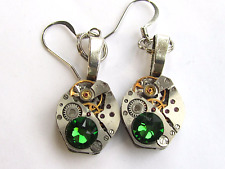 Steampunk drop/dangle earrings, watch movements Emerald Swarovski  ear gears