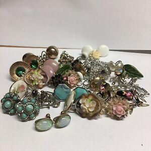 Estate Lot of Vintage Screwback Earrings 23 Pr. Weiss Coro Alice Czech +