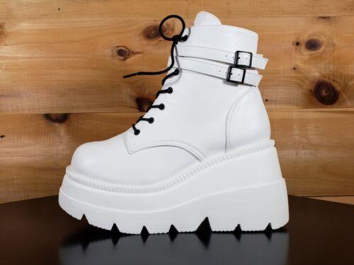 "Demonia Shaker White Platform 4.5/"" Wedge Heel Ankle Boots Sizes 6-12"