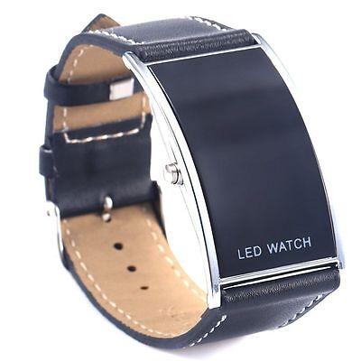 Men Women LED Date Digital Black Leather Strap Stainless Steel Wrist Watch Black