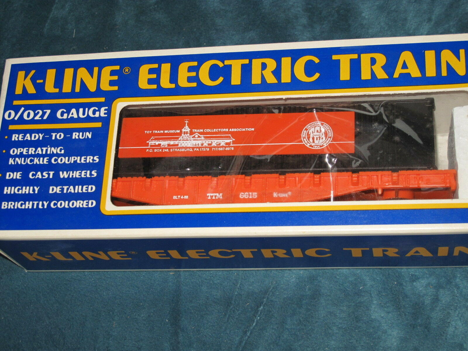 1988 K-Line  K6615 TCA Toy Train Museum Flat Car with Load NIB L2035
