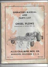 Original Oem Allis Chalmers Chisel Plows Operators Manual And Parts List Tpl 420