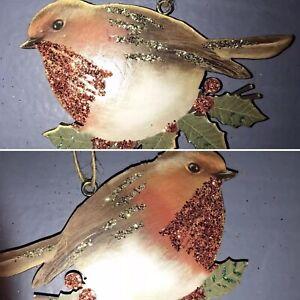 Gisela-Graham-Red-Robin-Christmas-Tree-Decoration-Hanging-Vintage-Style