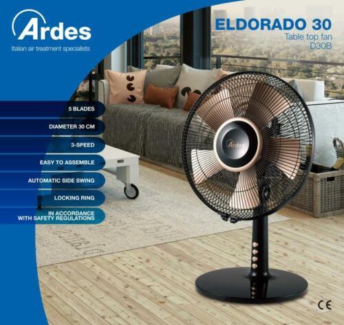 Ardes Ventilatore Da Tavolo Con Pale 30cm 40W Nero Oro Ar5d30b