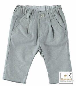 Pantalone Lungo Microfantasia In Cotone Grigio Neonato Minibanda U654