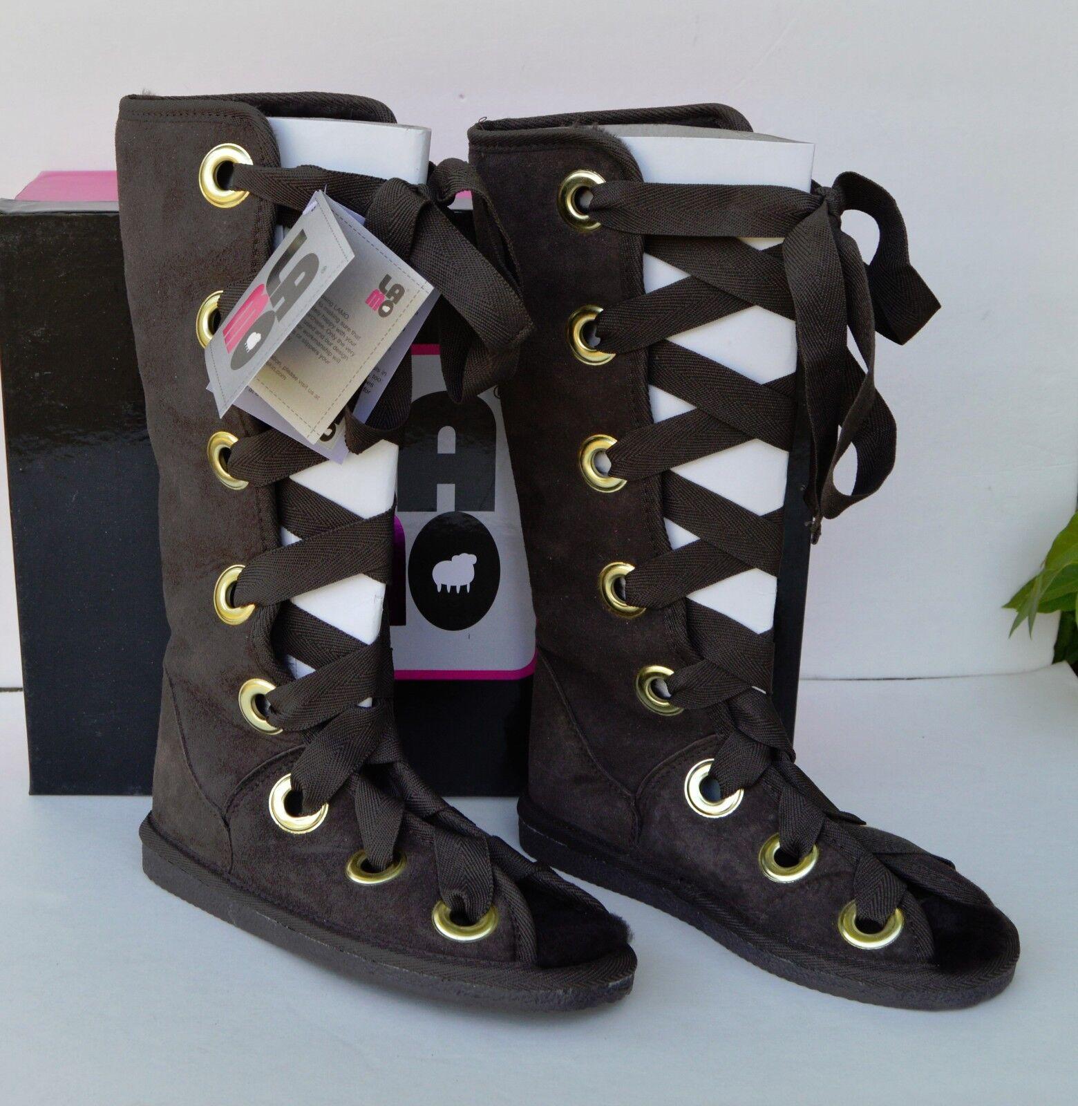 NEW! Lamo Edison Green Sheepskin Women's Gladiator Tall Boots Fur Lined Sz 10