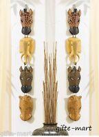 2 Primitive African Wildlife Safari Exotic Zoo Animal Mask Wall Faux Wood Plaque