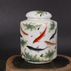 Chinese antiques Handmake Porcelain Pastel  fish pattern tea leaf jar qq32