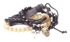 3 Pack White Bead Cross,Black Crystal Skull/multi Strand Leather Bracelet(Zx219)