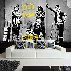 Wallpaper-Fleece-Photo-Design-Graffiti-Street-Art-Banksy-Old-Skool