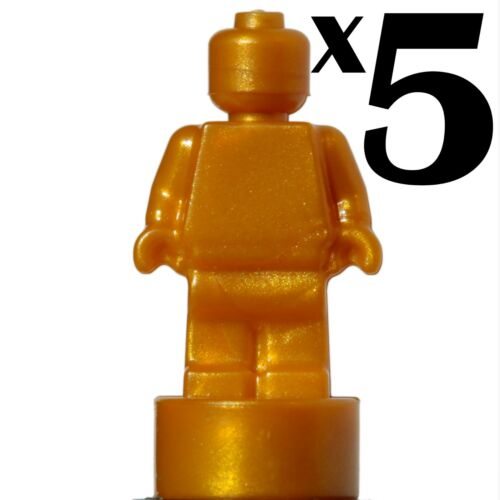 MicroFig Plain statue Pearl Gold x 5 statuette Trophy 71043 NEW LEGO