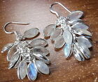 Blue Moonstone Marquise Cluster 925 Sterling Silver Dangle Earrings