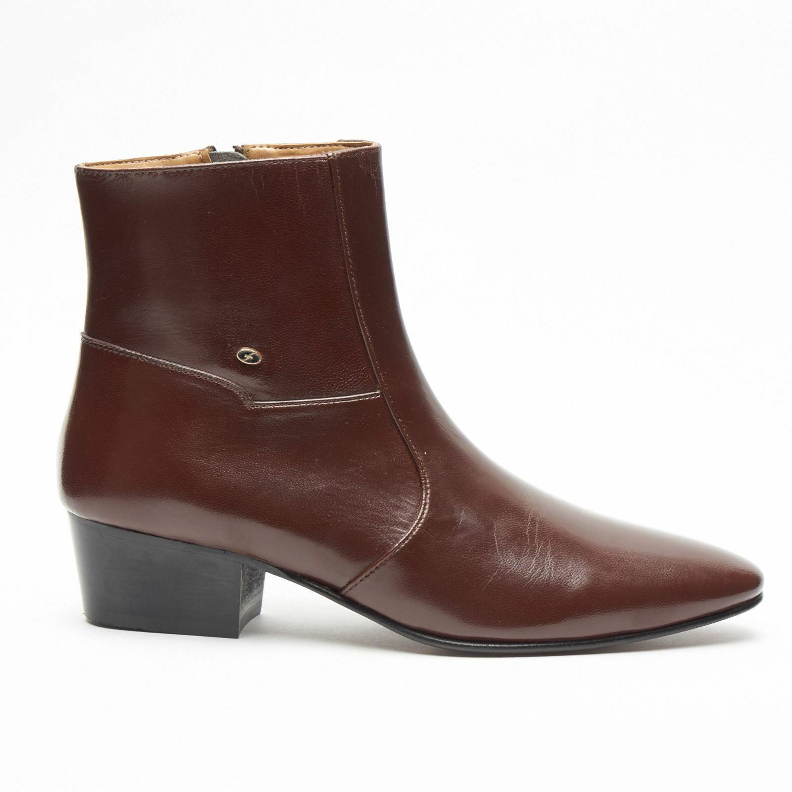 Mens Formal Lucini Boots Leather Brown Cuban Heel Wedding Ankle Boots Lucini Zip Up 7322b7