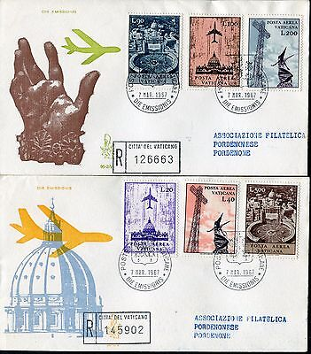 Honest Vatican 1967 Air Mail/architecture/st.peter Basilica/radio Tower/planes/art Fdc Architecture Topical Stamps