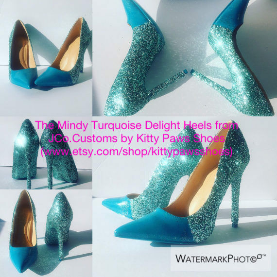 JCo.Customs by Kitty Paws Shoes Women Custom Turquoise Blue High Pointy 5