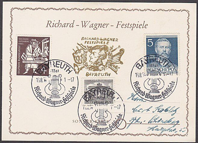 GERMANY 1954 Richard Wagner commem card used - nice franking................B331