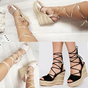 16ba32c5d54 Details about Womens High Wedge Platform Rope Espadrilles Ankle Lace Tie Up  Open Toe Summer UK