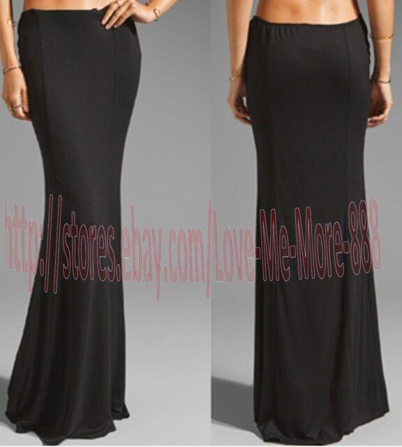 Womens LOW WAIST Party Club Casual Sun Beach Long Maxi SKIRTS Dress Black LARGE