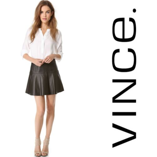 Vince $585 Black Soft Lambskin Leather Fit-And-Fla