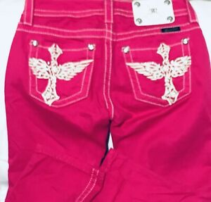 Miss-Me-Fuchsia-Capris-Hot-Pink-Dark-Vibrant-Lovely-Pants-Jeans-Sz-25