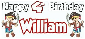 Boy-Pirate-4th-Birthday-Banner-x-2-Party-Decorations-Personalised-ANY-NAME