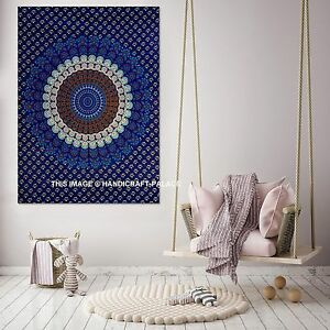 Indian-Blue-Peacock-Mandala-Poster-Cotton-Wall-Hanging-Home-Table-Cloth-Ethnic