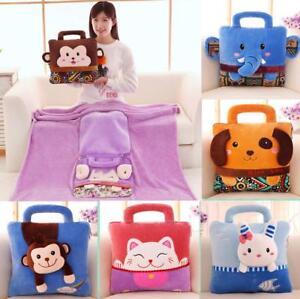Kids-Soft-Plush-Fleece-Folding-Travel-Throw-Rug-Blanket-Cushion-Pillow