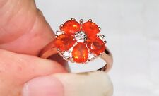 9K Yellow Gold Mexican Fire Opal Sapphire Accents Ring 2 Gram 1.30 cts Size 3.75