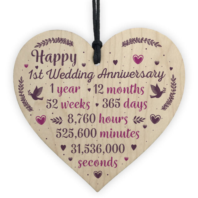 First Wedding Anniversary Gifts For Her: Handmade Wooden Heart Plaque 1st Wedding Anniversary Gift