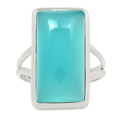 Paraiba Chalcedony 925 Sterling Silver Ring Jewelry s.7 25041R