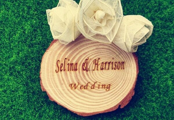 Personalised Wedding Favours Gift Wood Log Coaster Rustic Wedding Table Number