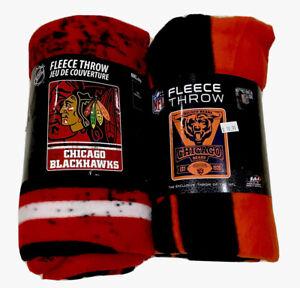 Two-Chicago-Team-Sport-Fleece-Throws-Blackhawks-amp-Bears-NWT-50-x-60-Size-Bundle