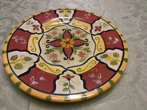 PIER-1-Vallarta-Chop-Plate-Round-Platter-13-034-Hand-painted-Dish-Micro-Safe-New