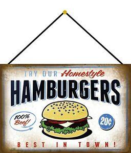 Homestyle Hamburgers Tin Sign Shield with Cord Tin Sign 20 X 30 CM FA0380-K