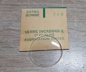 Verre-de-montre-suisse-bombe-plexi-diametre-348-Watch-crystal-vintage-NOS
