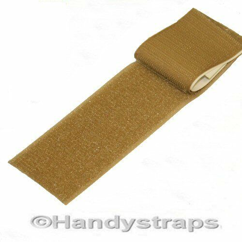 BEIGE Both sides Sew On 50mm wide Hook and Loop Tape