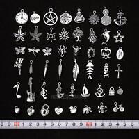 50Pcs Wholesale Bulk Lots Silver Color Mix Pendants Charms for Bracelet Jewelry