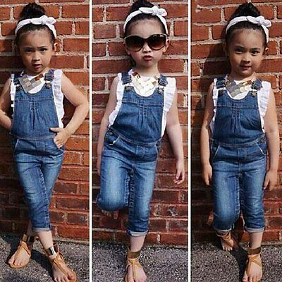 Toddler Kids Girl Washed Jeans Denim Casual Jumpsuit Romper Overall +Tops TShirt